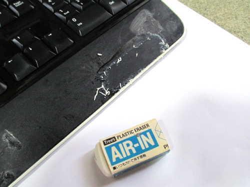 マイクロソフトワイヤレスキーボードと消しゴム